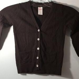 Gymboree black long sleeve button cardigan XS 3-4
